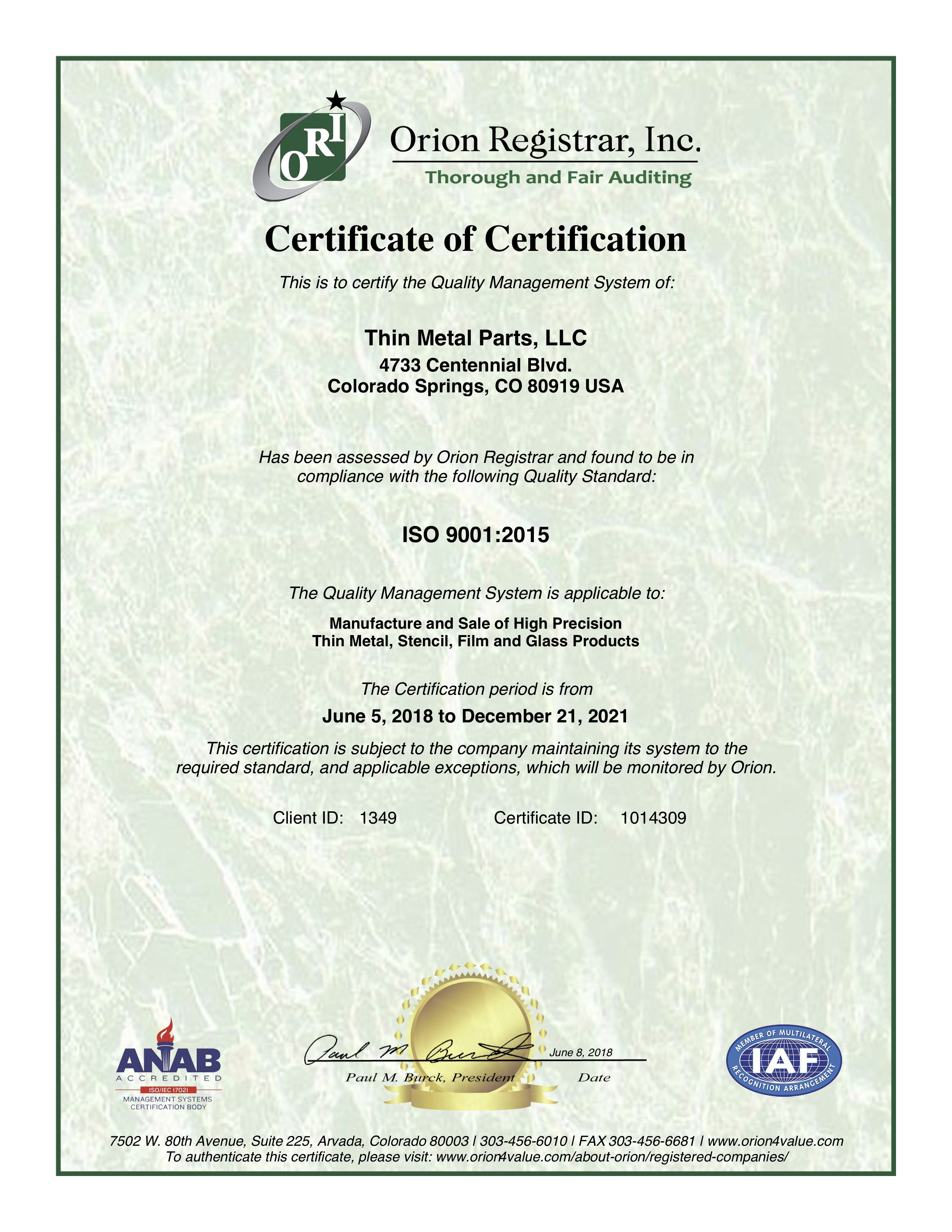 Thin Metal Parts ISO 9001 Certificate for Quality Control
